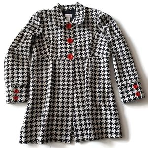 3 Sisters large herringbone coat with red buttons